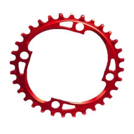 AbsoluteBLACK Chainring Ø104 mm Singlespeed 32T 4 holes rød